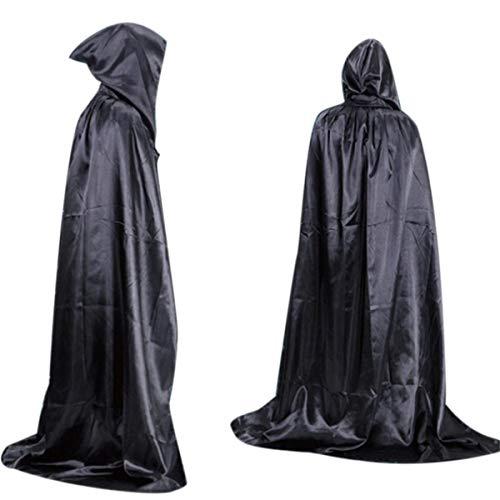 HET Herren Damen Kapuzen Robe Umhang Ritter Fancy Cosplay Kostüm Halloween Tod Umhang Erwachsener langer Abschnitt des Wischens der Boden Maskerade ()