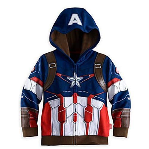 XinXinSHOP Little Boy Oberbekleidung Mäntel Super Hero Avengers Iron Man Kapuzenjacke (Captain America, 2-3T(100)) (Boys Man Hoodie Iron)
