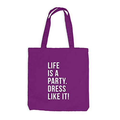 Jutebeutel - Life is a Party. Dress like it! - Festival Style Magenta