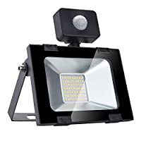 Security Lights with Motion Sensor 30W, XGZ LED PIR Floodlights, 2400lm LED Sensor Outdoor Light, I100W Halogen Lights Equivalent Replacement Daylight White Warm White, 1 Pack