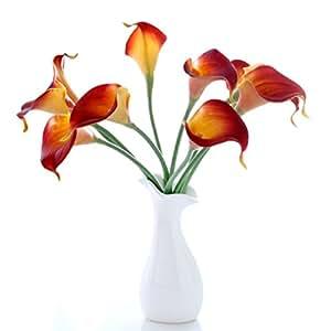 VORCOOL 10pz elegante vero tocco realistico artificiale PU Calla Lily fiore bouquet da sposa da sposa mazzi di fiori