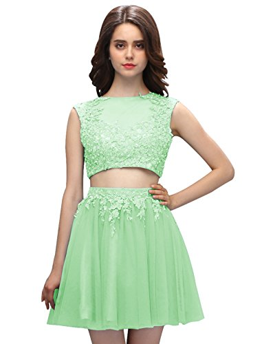 Dressystar Robe femme, Robe de bal courte Sans manches,appliques,2 pièces sexy à paillettes en tulle Vert sauge