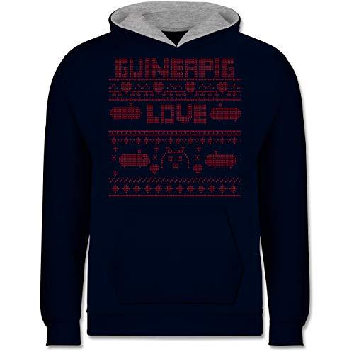 Shirtracer Weihnachten Kind - Guineapig Love Christmas - 12-13 Jahre (152) - Navy Blau/Grau meliert - JH003K - Kinder Kontrast Hoodie (Hässliche Ideen Sweater Christmas Für)