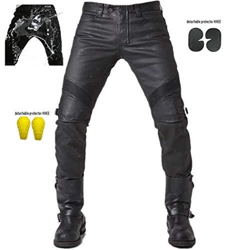 Uomo Impermeabile Moto Biker Jeans Rinforzato Protezione Pantaloni Linning Includono Armature Motorcycle Pants-nero (XL- (Waist 36.5'))