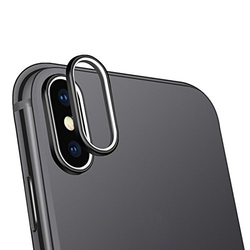 For Mobile iPhone X lens Protection Luxury Rear back Camera Guard Circle Metal Lens Protector Case Cover Ring Bumper (Black)  available at amazon for Rs.199