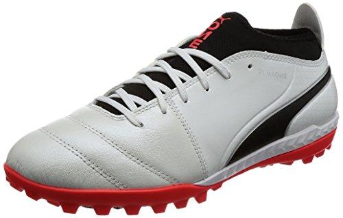 Puma One 17.3 Tt, Scarpe da Calcio Uomo Bianco (White-black-fiery Coral)