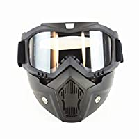 ‏‪Motorcycle Goggles with Detachable Mask, Motocross Riding Cycling Motorbike ATV Dirt Bike Racing Off Road Cosplay Goggle Glasses, Adjustable Non-Slip Strap Retro Harley Helmet Goggles‬‏