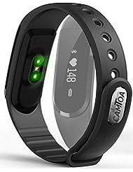 Camtoa Ultra-Slim Fitness-Tracker nur 25g leicht Aktivitäts-Tracker mit Pulsmesser am Handgelenk | Schrittzähler | Fitnessaufzeichnung | Trainingseinheit-Modus | Schlafmonitor | Kalorienzähler | Push Funktion Benachrichtigung über Anrufe, SMS, Whatsapp uvm. Musiksteuerung, Handy Suchfunktion, Anti-Diebstahl, Kamera-Fernauslöser, Wasserdicht IP 67 | für Android und IOS | Smart-Watch | Fitness-Armband-Puls | Fitness-Tracker-Uhr | Activity-Tracker | Tracker-Armband | Kalorienrechner | ID101HR