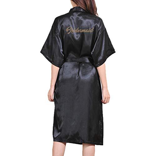 Hibote Frauen Lange Satin Kimono Hochzeit Immer Fertig Robe Gold Glitter Satin Brautjungfer Lange...