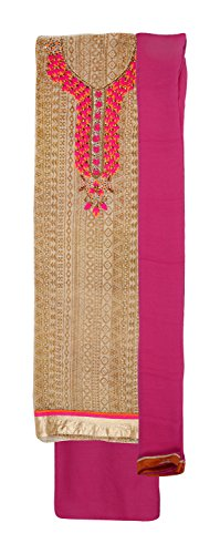Ethnic Story Women's Kota Unstiched Salwar Suit (Cream and Pink)