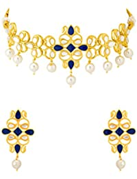 Voylla Traditional Brass With Yellow Gold Plated Pearl Beads Necklace Sets For Women