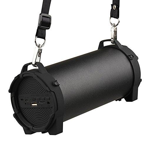 GUORZOM Bluetooth-Lautsprecher Tragbare Drahtlose Lautsprecher Im Freien mit Tragendem Gurt Eingebauter USB, TF-Kartenschlitz, Zusatz in W/Mic-Gurtband-Bügel, Black