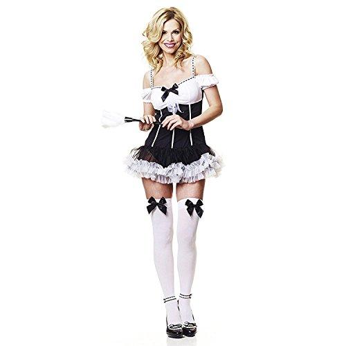 MIXLOT Neue Frauen Sexy Schwarz Und Weiß Phantasie Französisch Maid Kostüm Damen Erwachsene Kleid (Fancy French Maid, - Super Sexy Französisch Maid Kostüm