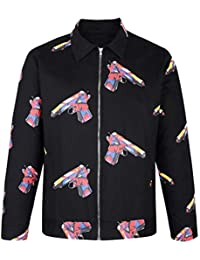 Hombre Costura del Hombro Bajo Fit 3/4 Pink Bomber Jacket Hombres Long Chic Sleeve