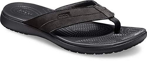 crocs Herren Santa Cruz Leather Flip M Dusch-& Badeschuhe, Schwarz Black 060b, 48/49 EU