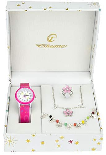 f66704861c52 Caja de Regalo Reloj Chico Rosa- Juegos de Joyas Margarita – Collar-Anillo-