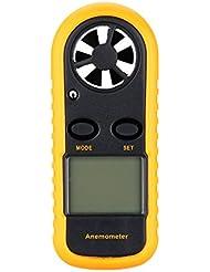 KKmoon LCD 2 en 1 Anémomètre Thermomètre Numérique Portable Multifonctionnel Affichage Rétro-éclairage ℃/° F, Testeur de Vitesse du Vent & Température (Batterie non Incluse)