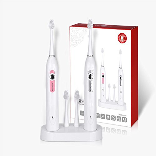 Elektrische Zahnbürste Ultraschall elektrische Zahnbürste Wireless Sensor Aufladung wasserdicht kann geändert werden Pinsel Paar Set 2 weiß rosa Zahnbürste (Sonicare-pinsel-set)