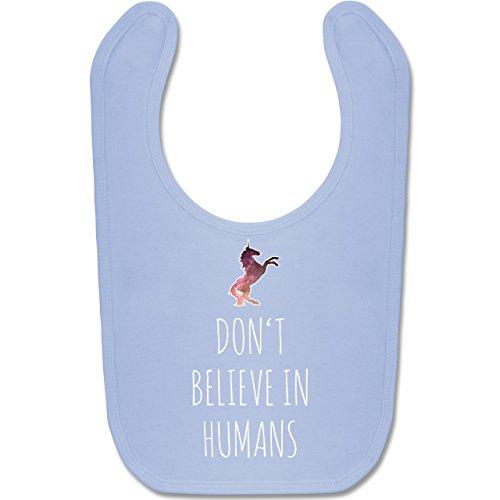 Up to Date Baby - Don't believe in humans - Unisize - Babyblau - BZ12 - Baby Lätzchen Baumwolle