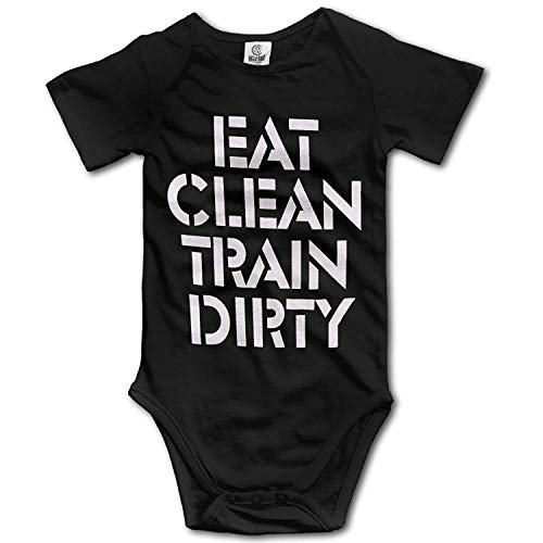 Unisex Baby's Climbing Clothes Set Eat Clean Train Dirty Bodysuits Romper Short Sleeved Light Onesies for 0-24 Months
