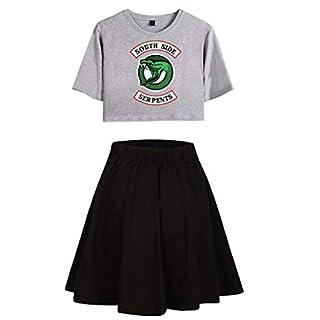 Riverdale Tops und Hosen Damen, Teenager Mädchen Southside Serpents T-Shirt und Shorts Mode Sommer Crop Tops Anzug Bauchfrei Oberteile Sport Kurze Tank Top Frauen Kurzarm Blusen T-Shirt (A-G-B, L)