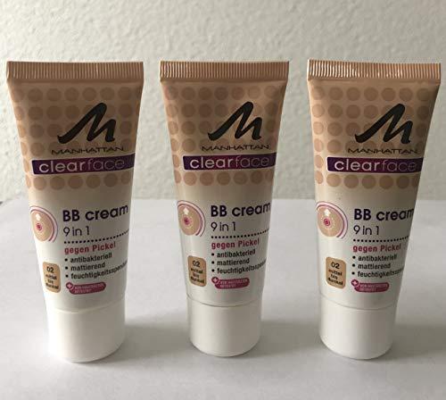 3x Manhattan Clearface BB Cream 9in1 gegen Pickel - 02 Mittel bis Dunkel