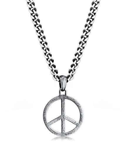 kuzzoi Exklusive Herren Halskette oxidiert geschwärzt mit Peace Anhänger (25 mm) im Hippie Look, Massive Kette für Mann oder Freund, Panzerkette aus 925 Sterling Silber, Länge 50 cm
