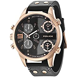 Police Men's PL.94379AEU/02 Quartz Watch with Black Dial Analogue Display and Leather Strap
