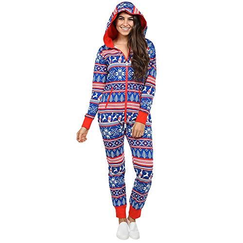 Damen Jumpsuit Pyjamas FORH Frauen Langarm Weihnachten Elch Bedruckt Overall Nachthemden Winter warm lang hoodie Schlafanzüge Hosenanzug Jumpsuit Anzug Sleepwear Overall (XL, Marine)