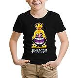 Okiwoki T-Shirt Enfant Noir Clash Royale parodique Le Roi de Clash Royale et Brice de Nice : J'tai Clashé !! (Parodie Clash Royale)