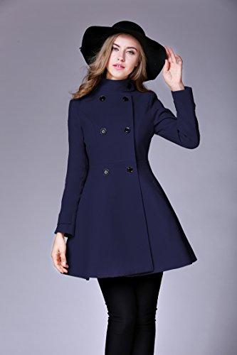 Babyonlinedress Damen Zweireihig Trenchcoat Winter Übergröße Mantel in 4 Farben Navy-Blau