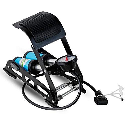 FOONEE Fahrrad-Luftpumpe Laborsparend Hochdruck tragbarer Auto-Luftkompressor Einzel- und Doppelrohr-Pedalpumpe für Autos, Motorräder, Alle Arten von Bällen Blue Double