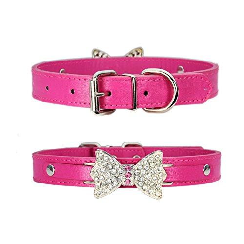 Mein ji Halsband für Haustiere, mit Strasssteinen, für Katzen, kleine Hunde, verstellbare Schnalle