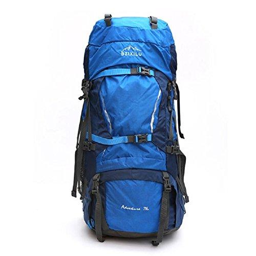 LJ&L Outdoor große Kapazität 70 Liter männliche und weibliche Universal-Bergsteigen Rucksack, Camping Wandern Reise Rucksack, Nylon-Gewebe Anti-Rissfest dauerhaft B