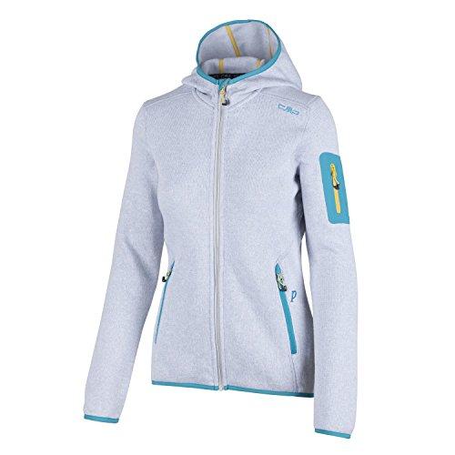 Fleecejacke Sondermodell Kiara Strickfleece Outdoor Jacke CMP für Damen mit Fleece-Innenausstattung und weicher Kapuze- Gr. 44, Bianco-Ice-Bianco