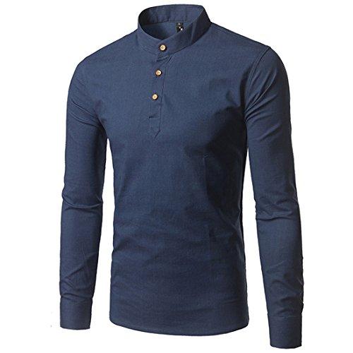 Mirecoo Herren lässig fit Langarm Leinen-hemd Freizeithemd Shirts (Leinen-button-down-shirt)
