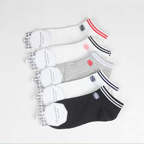 JJHR Socken College-Sport-Socken-Damen-Paare Baumwollskateboard-Boots-Socken-Bequeme Weiche Thermische Leistung-Socken, Die Socken Laufen Lassen(5 Paare) -