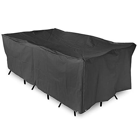 KING DO WAY Housse Pour Mobilier De Jardin Étanche Bâche Couverture Housse De Protection Meuble Table Salons De Jardin Patio Extérieur Furniture Cover Noir Rectangulaire 213cmX132cmX74cm