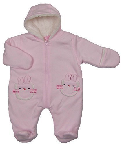 Bebe Bonito Babys Jersey Außenmaterial Fleece gefüttert Schneeanzug Außenmaterial Mantel Süß Bunny Taschen Neugeborenes, 0-3 and 3-6 Monate - Rosa, Neugeboren (Bebe Jersey)