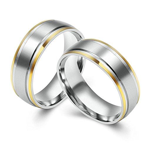 Bishilin Paarepreise Edelstahl Ring für Herren Hochglanzpoliert Breite 8MM Rund Silber Freundschaft Paarringe Trauring Größe 67 (21.3) & Größe 67 (21.3)