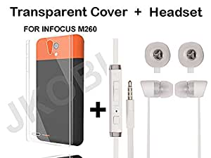 JKOBI(TM)Value Combo Of Soft TRANSPARENT Clear TPU Back Case Cover And In Ear Bud Earphones Mini Size Headset For INFOCUS M260 With 3.5mm Jack-WHITE