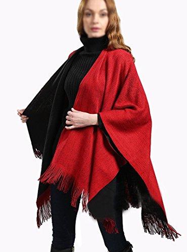 Meliya - Poncho -  donna Black+Red