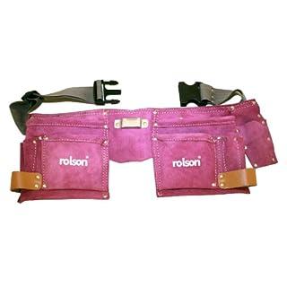 Rolson 68630 Werkzeuggürtel aus Leder mit zwei Taschen, Rosa