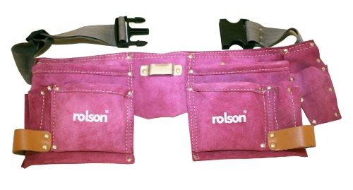 Rolson 68630 Werkzeuggürtel aus Leder mit zwei Taschen, Rosa (Werkzeuggürtel Rosa)