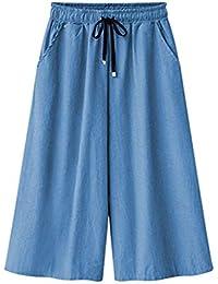 c4cf658f11de1 GZYD Jeans pour Dames Ceinture d attache Confortable Doux en Vrac Les  Loisirs Pantacourt Bleu