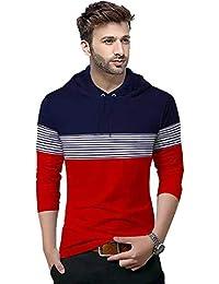 BLIVE Color Block, Striped Men's Hooded Neck Full Sleeve T-Shirt Dark Blue, Red