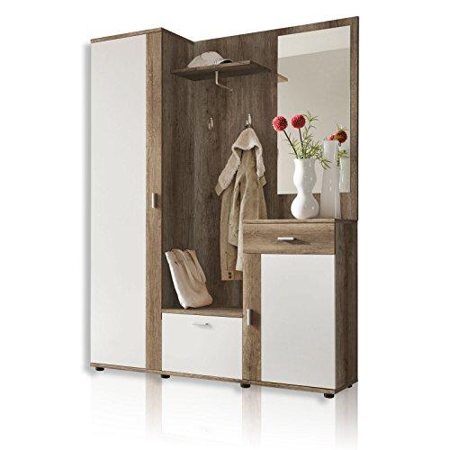 ROLLER Garderobe PATENT - weiß - Eiche antik - 145 breit