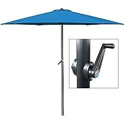 Parasol bleu - Ø 300cm - Avec manivelle - Jardin - Terrasse