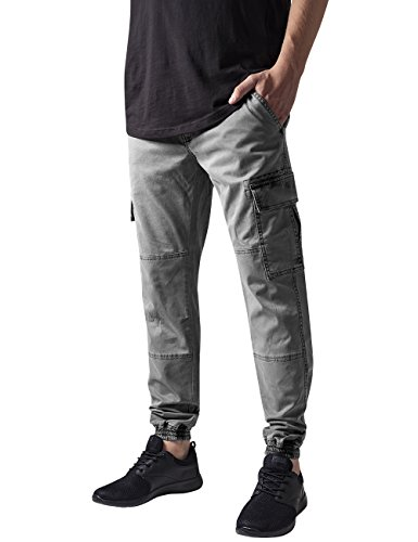 Urban Classics TB1435 Herren und Jungen Cargohose Washed Cargo Twill Jogging Pants, Rangerhose mit aufgesetzten Seitentaschen, grey, Größe W32