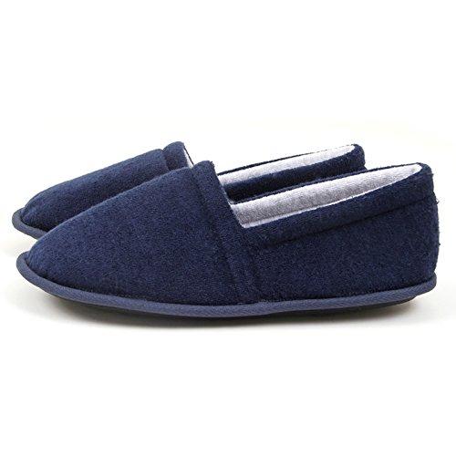 LaxBa Glisser sur lhiver au chaud en Fausse Fourrure Chaussons neige bordée Chaussures pour hommes , Blue